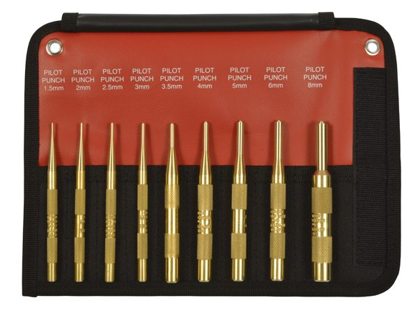 9 Piece Brass Pilot Punch Set Metric