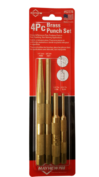 4 Piece Brass Punch Set SAE