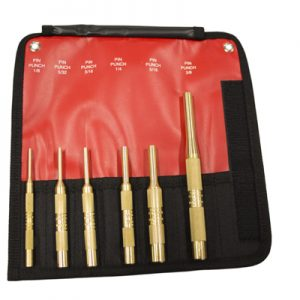 6 Piece Brass Pin Punch Set SAE