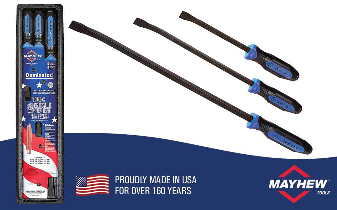 Mayhew™ Introduces New Dominator® 3 Piece Curved Pry Bar Set