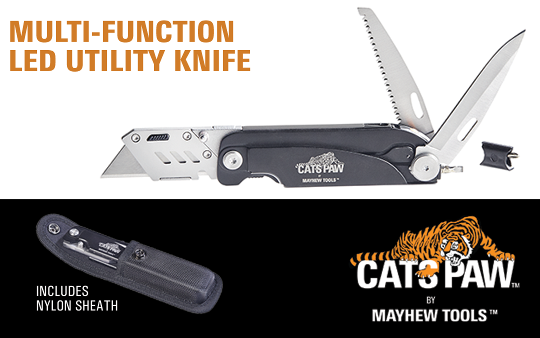 Mayhew™ Tools Introduces CatsPaw Multi-Function LED Utility Knife